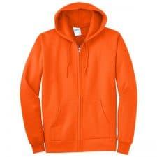 Full Zip Safety Orange Hooded Sweatshirt