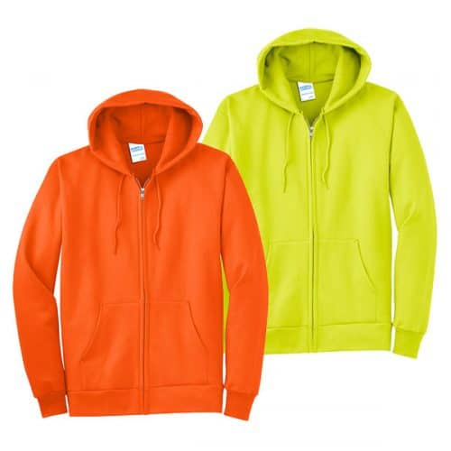 Big and Tall Full Zip Safety Hooded Sweatshirt