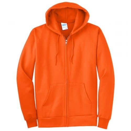 Safety Orange Full Zip Hooded Sweatshirt in Tall Sizes