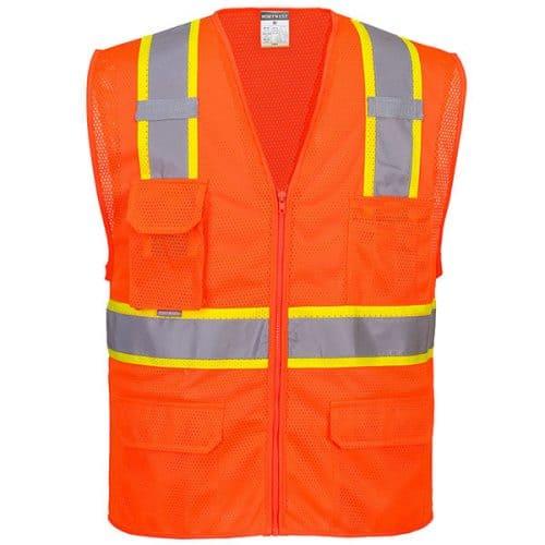 Safety Orange Vest with Contrasting Trim