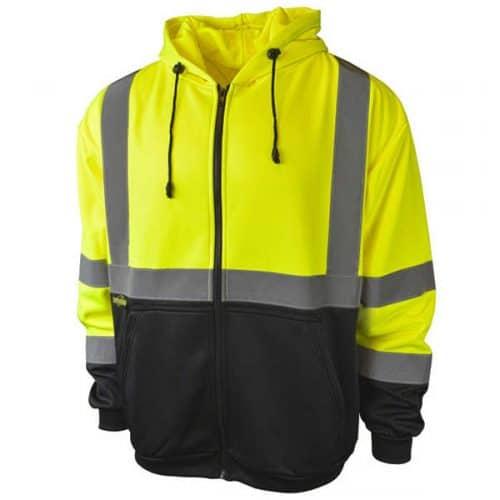 Radians Full Zip Safety Green Hooded Sweatshirt