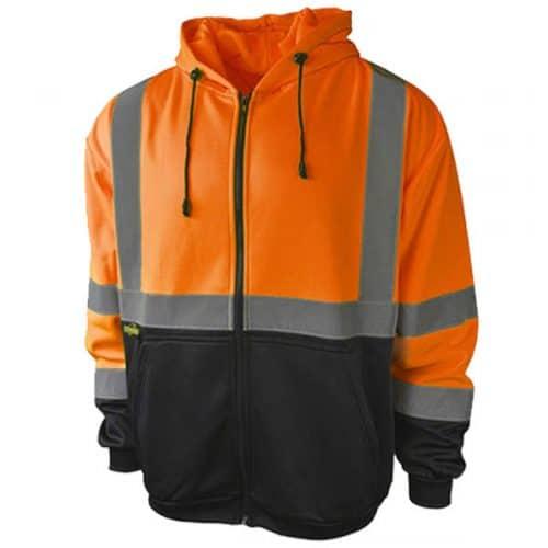 Radians Safety Orange Full Zip Hooded Sweatshirt