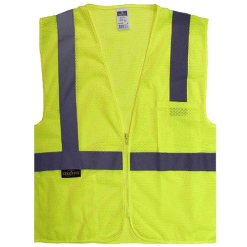 Radians Safety Green Vest with Zipper