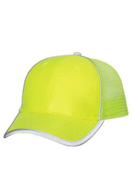 Mesh Back Safety Cap in Safety Green