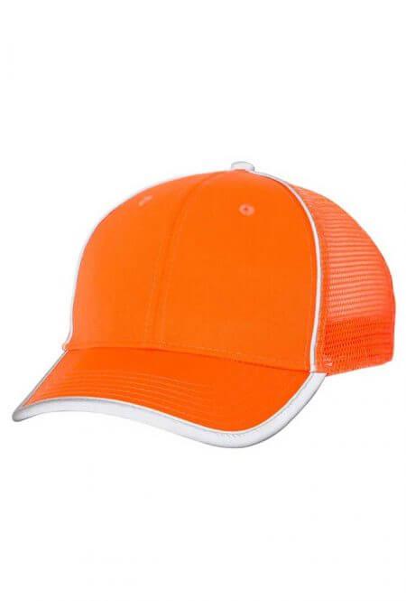 Mesh Back Safety Cap in Safety Orange
